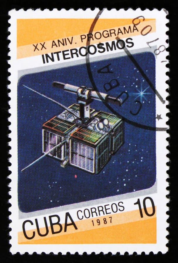 Η Κούβα από τη 20η επέτειο του ζητήματος προγράμματος Intercosmos παρουσιάζει διαστημικό δορυφόρο, circa το 1987 στοκ φωτογραφίες