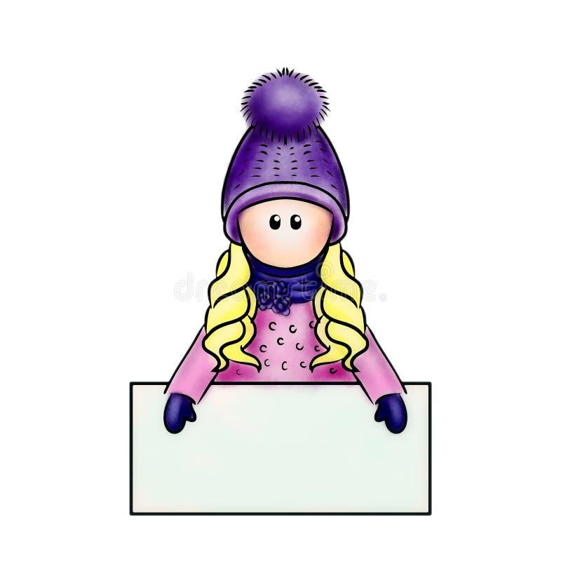 Η κούκλα κρατά ένα σημάδι για το λογότυπο στοκ φωτογραφία με δικαίωμα ελεύθερης χρήσης