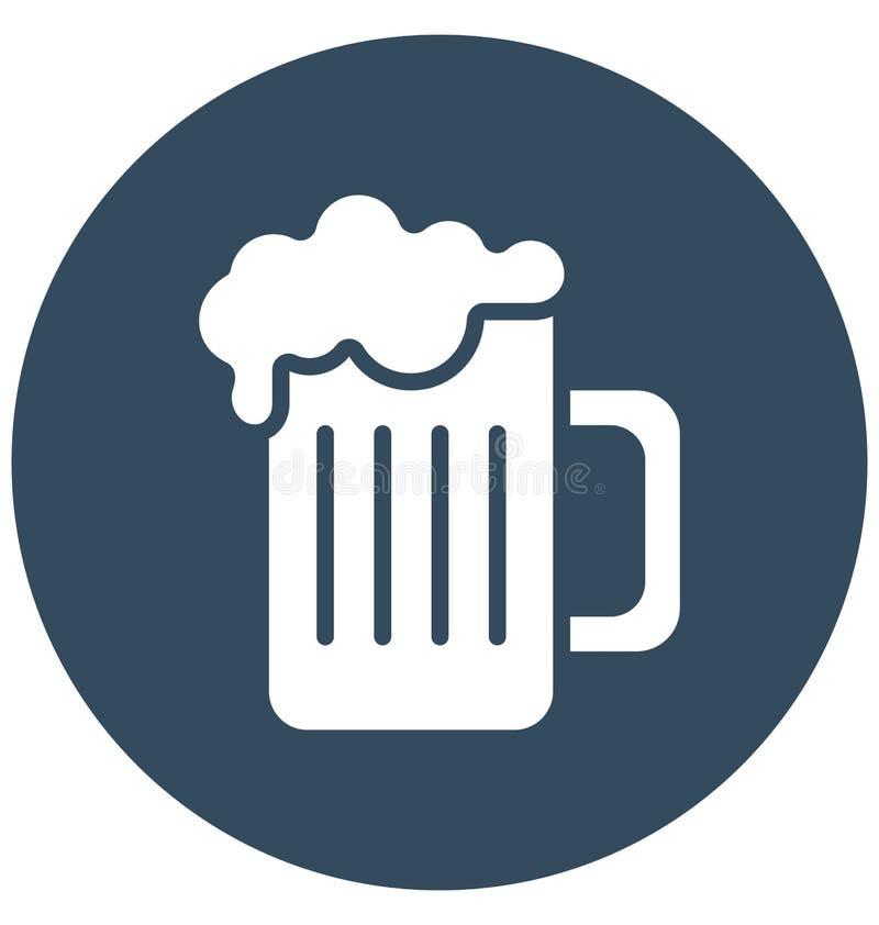 Η κούπα μπύρας απομόνωσε το διανυσματικό εικονίδιο που μπορεί να τροποποιηθεί εύκολα ή να εκδώσει ελεύθερη απεικόνιση δικαιώματος