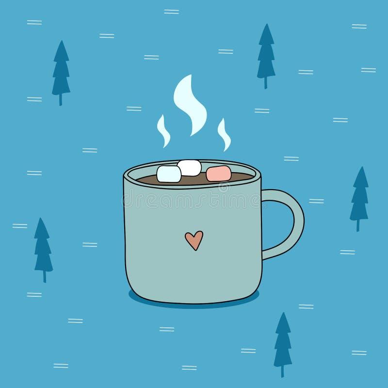Η κούπα της καυτής σοκολάτας με marshmallow στο μπλε υπόβαθρο με το έλατο προσπαθεί διανυσματική απεικόνιση
