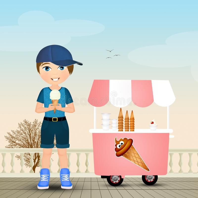 η κρέμα παιδιών τρώει τον πάγ&omic απεικόνιση αποθεμάτων