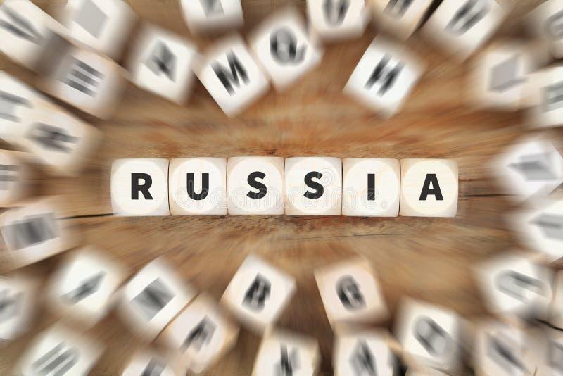 Η κρίση σύγκρουσης της Ρωσίας χωρίζει σε τετράγωνα την επιχειρησιακή έννοια στοκ φωτογραφία