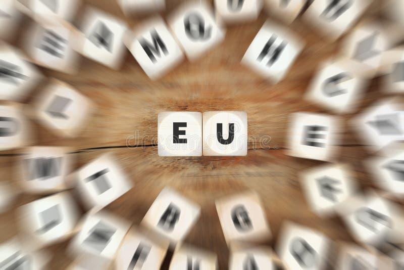 Η κρίση της Ευρωπαϊκής Ένωσης της ΕΕ Ευρώπη χωρίζει σε τετράγωνα την επιχειρησιακή έννοια στοκ εικόνες