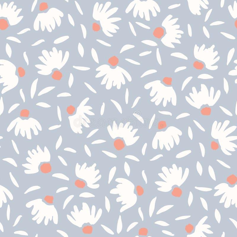 Η κρητιδογραφία χρωμάτισε αόριστα συρμένο το χέρι θηλυκό κομψό διανυσματικό άνευ ραφής σχέδιο λουλουδιών κώνων Ελατήριο-θερινή Fl απεικόνιση αποθεμάτων