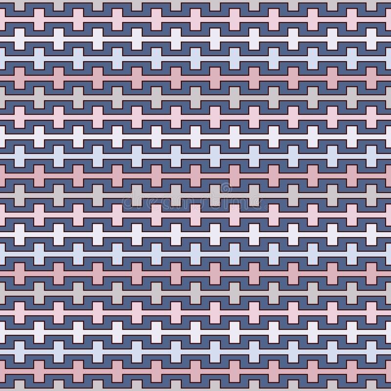 Η κρητιδογραφία χρωματίζει το άνευ ραφής σχέδιο με battlement έκαμψε τις γραμμές Επαναλαμβανόμενη γεωμετρική ταπετσαρία αριθμών Σ διανυσματική απεικόνιση