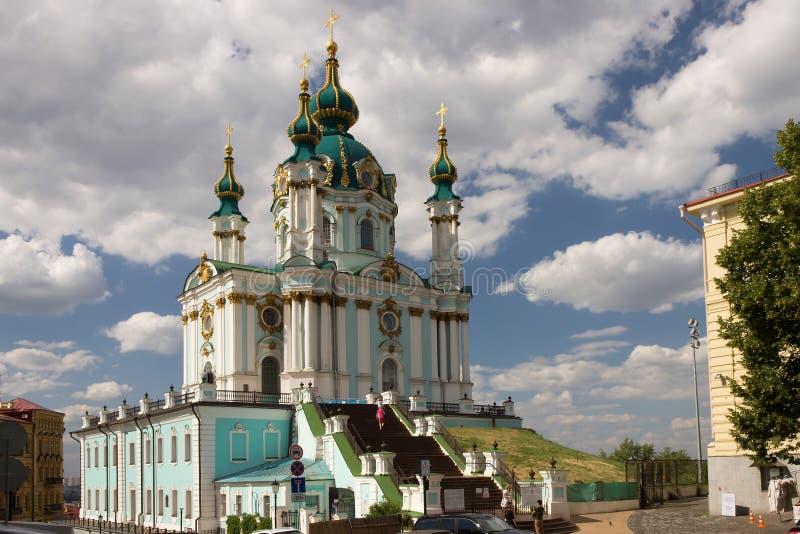 Η κυρία είσοδος της εκκλησίας του ST Andrew στο Κίεβο στοκ εικόνα