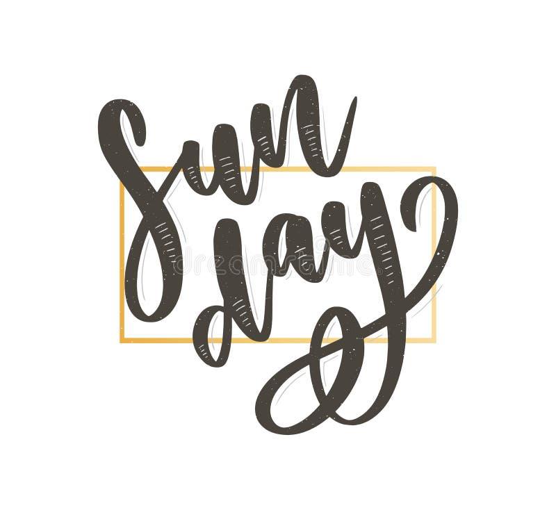 Η Κυριακή - διανυσματική συρμένη χέρι φράση εγγραφής Σύγχρονη καλλιγραφία βουρτσών για τα blogs και τα κοινωνικά μέσα Κίνητρο και διανυσματική απεικόνιση