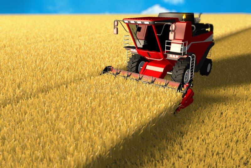 Η κόκκινη αγροτική θεριστική μηχανή λειτουργεί στο μεγάλο τομέα σίτου - γεωργική έννοια εξοπλισμού, βιομηχανική τρισδιάστατη απει διανυσματική απεικόνιση