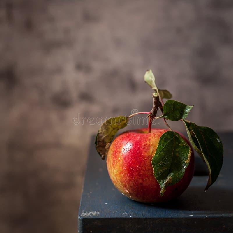 Η κόκκινη και κίτρινη Apple σε έναν πάγκο στοκ φωτογραφίες με δικαίωμα ελεύθερης χρήσης