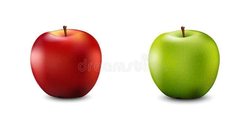 Η κόκκινη και πράσινη Apple καθορισμένη Ρεαλιστικά τρισδιάστατα μήλα Λεπτομερές τρισδιάστατο Illust ελεύθερη απεικόνιση δικαιώματος