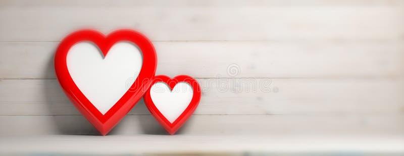 Η κόκκινη καρδιά δύο διαμόρφωσε τα κενά πλαίσια στο ξύλινο υπόβαθρο τοίχων, έμβλημα διανυσματική απεικόνιση