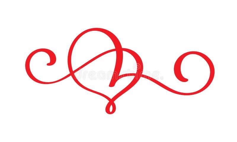 Η κόκκινη καρδιά εραστών ακμάζει Χειροποίητη διανυσματική καλλιγραφία Ντεκόρ για τη ευχετήρια κάρτα για την ημέρα βαλεντίνων, κού απεικόνιση αποθεμάτων