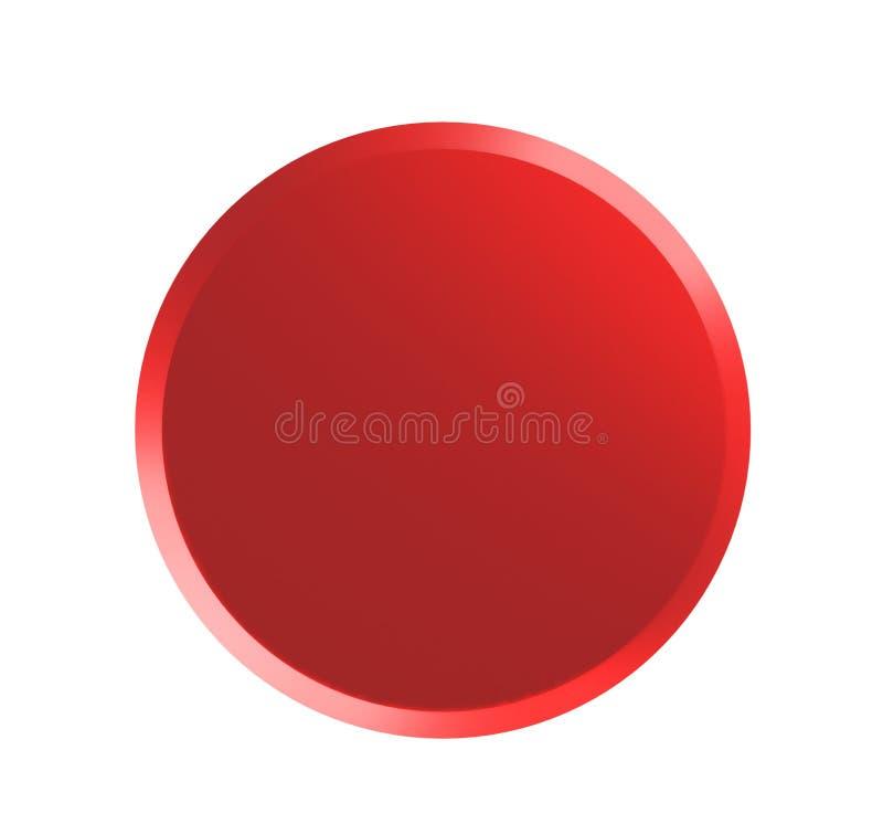 Η κόκκινη καρφίτσα διακριτικών που απομονώνεται στο άσπρο πρότυπο, τρισδιάστατο δίνει την απεικόνιση διανυσματική απεικόνιση