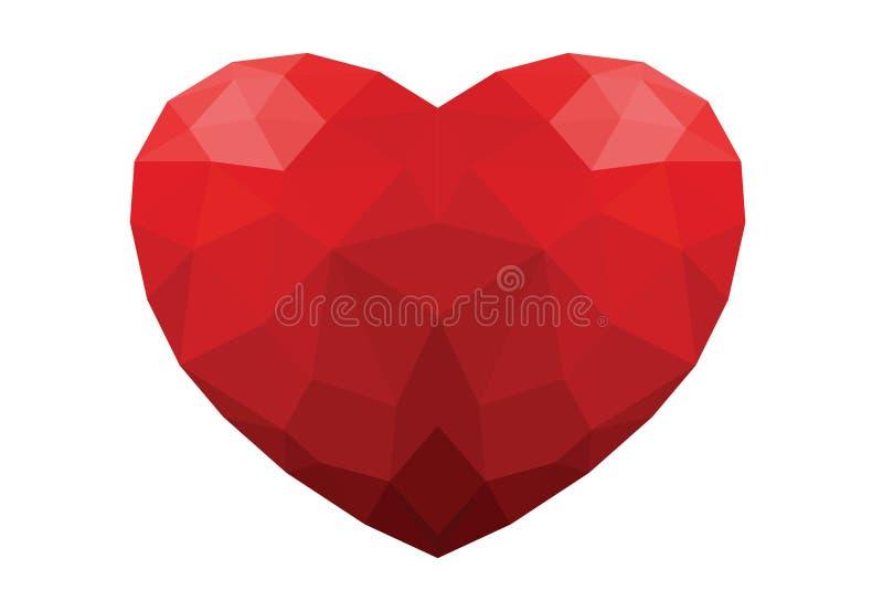 Η κόκκινη καρδιά πολυγώνων απομόνωσε το άσπρο υπόβαθρο στοκ εικόνες