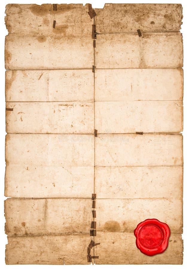 Η κόκκινη σφραγίδα φύλλων εγγράφου χρησιμοποίησε τις λεκιασμένες άκρες σύστασης εγγράφου στοκ φωτογραφία με δικαίωμα ελεύθερης χρήσης