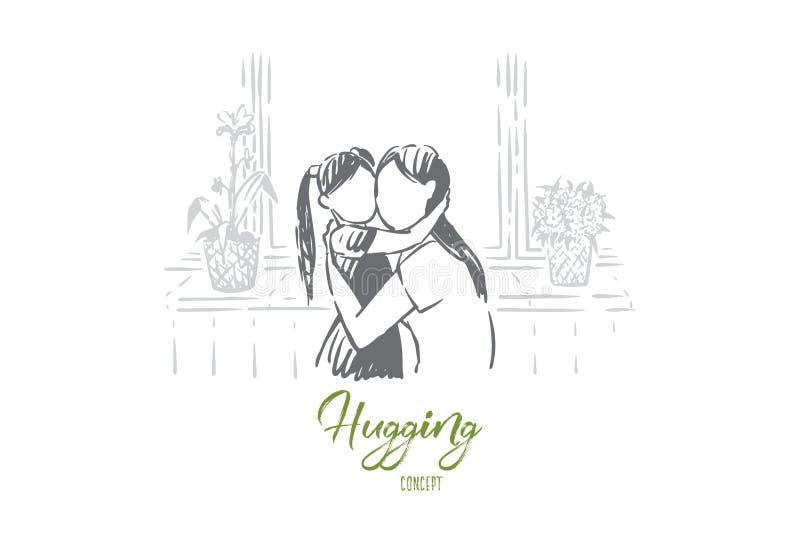 Η κόρη αγκαλιασμάτων Mom, η νέα γυναίκα και το μικρό κορίτσι αγκαλιάζουν, απρόσωπος γονέας, ευτυχής μητρότητα, ημέρα μητέρων ελεύθερη απεικόνιση δικαιώματος