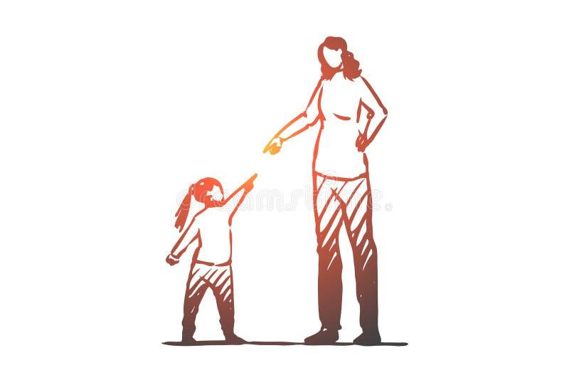 Η κόρη, μητέρα, η, επιπλήττει, έννοια σύγκρουσης Συρμένο χέρι απομονωμένο διάνυσμα απεικόνιση αποθεμάτων
