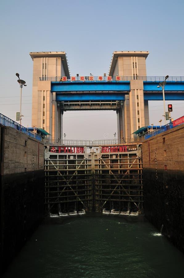 Η κλειδαριά σκαφών του φράγματος Gezhou στοκ φωτογραφία