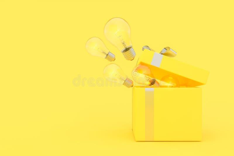 Η λάμπα φωτός παράσυρε από το κίτρινο χρώμα κιβωτίων δώρων ελεύθερη απεικόνιση δικαιώματος
