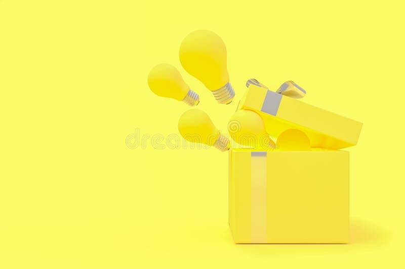 Η λάμπα φωτός παράσυρε από το κίτρινο χρώμα κιβωτίων δώρων απεικόνιση αποθεμάτων