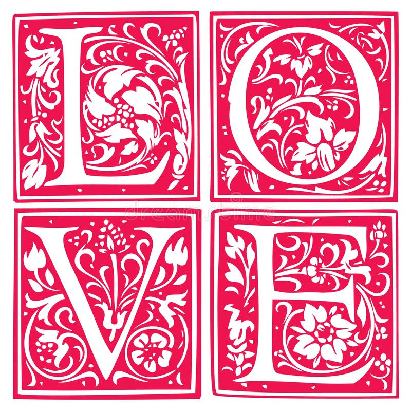 Η λέξη αγάπης φιαγμένη από λουλούδια και βγάζει φύλλα Σχέδιο γαμήλιας πρόσκλησης Κάρτα ημέρας βαλεντίνων ελεύθερη απεικόνιση δικαιώματος