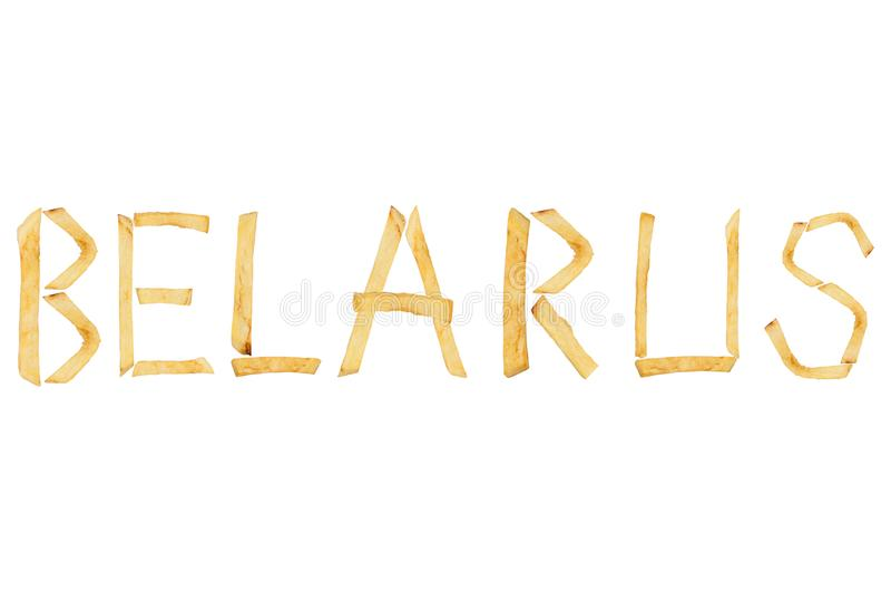 Η λέξη ΛΕΥΚΟΡΩΣΙΑ σχεδίασε των μακριών ραβδιών των τηγανισμένων τηγανιτών πατατών στοκ φωτογραφία με δικαίωμα ελεύθερης χρήσης