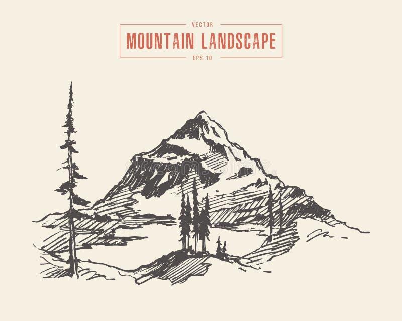 Η λίμνη τοπίων βουνών ευπρεπίζει το διάνυσμα που σύρεται διανυσματική απεικόνιση
