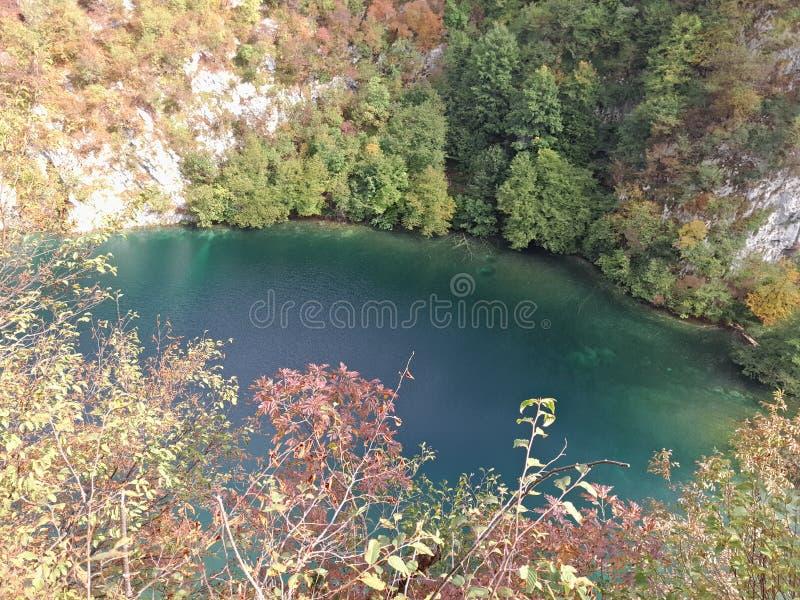 Η λίμνη Plitvice, Κροατία, ακριβώς η μικρή λίμνη αυτό είναι σκούρο πράσινο, καταπληκτική θέση στοκ φωτογραφίες με δικαίωμα ελεύθερης χρήσης