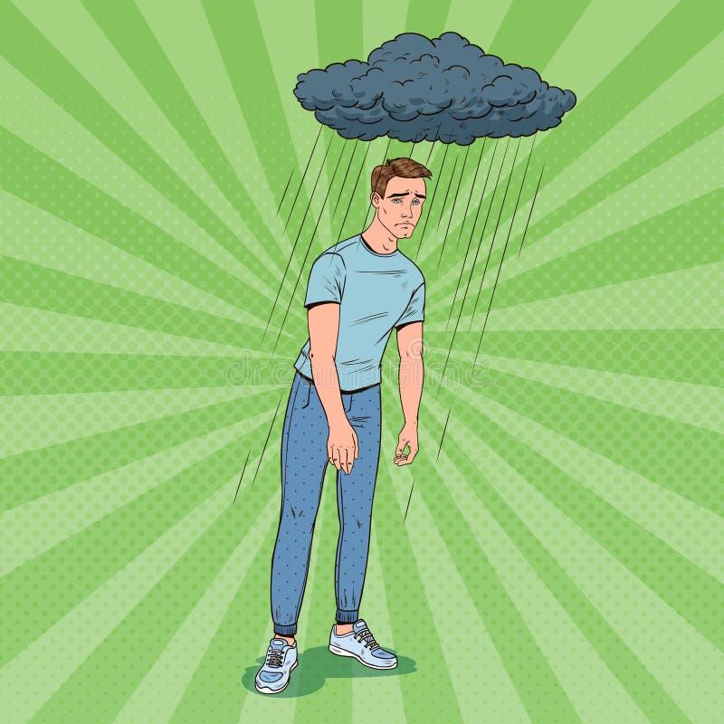 Η λαϊκή τέχνη πίεσε το νεαρό άνδρα κάτω από τη βροχή Ταραγμένος απογοητευμένος τύπος Του προσώπου έκφραση Αρνητική συγκίνηση διανυσματική απεικόνιση