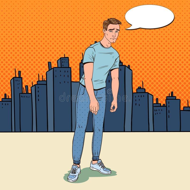 Η λαϊκή τέχνη πίεσε το νεαρό άνδρα στην πόλη Ταραγμένος απογοητευμένος τύπος Του προσώπου έκφραση Αρνητική συγκίνηση διανυσματική απεικόνιση