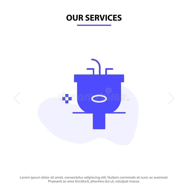Η λεκάνη υπηρεσιών μας, λουτρό, καθαρισμός, ντους, στερεό πρότυπο καρτών Ιστού εικονιδίων Glyph πλυσίματος απεικόνιση αποθεμάτων