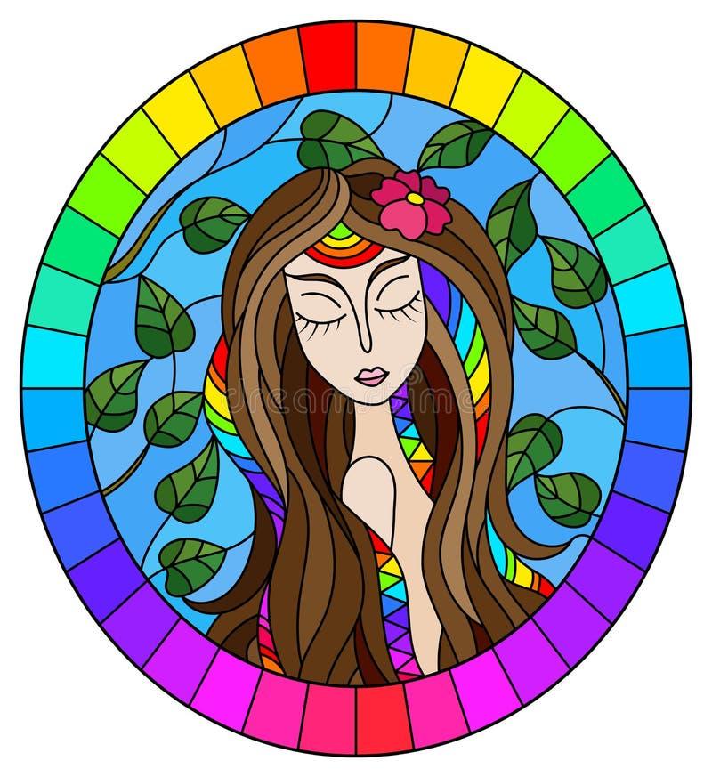 Η λεκιασμένη απεικόνιση γυαλιού με ένα κορίτσι με την καφετιά τρίχα και το δέντρο διακλαδίζεται στο υπόβαθρο του μπλε ουρανού, ωο ελεύθερη απεικόνιση δικαιώματος
