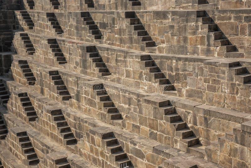 Η λεπτομέρεια του αρχαίου stepwell στην Ινδία είναι Chand Baori στοκ φωτογραφίες με δικαίωμα ελεύθερης χρήσης
