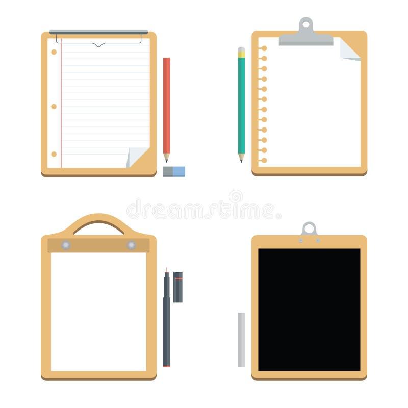 Η Λευκή Βίβλος με την περιοχή αποκομμάτων και τον πίνακα κιμωλίας, διάνυσμα, εξοπλισμός γραφείων διανυσματική απεικόνιση