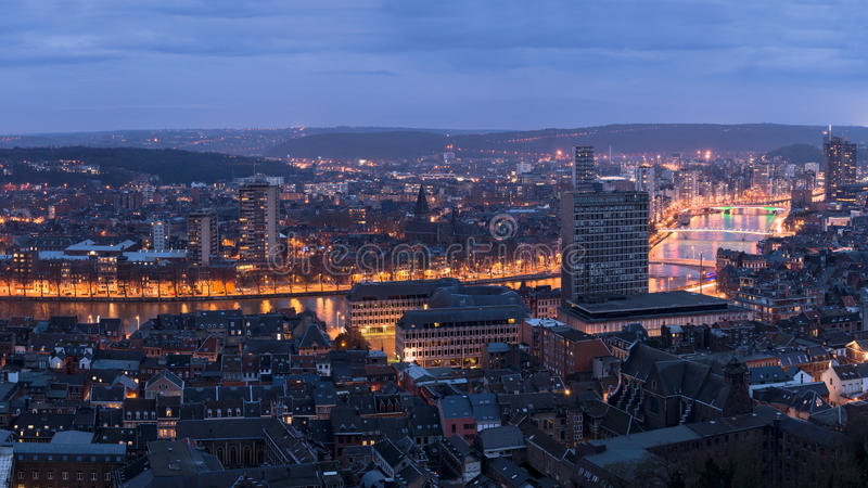 Η Λιέγη στο Βέλγιο από το montagne de στοκ εικόνα