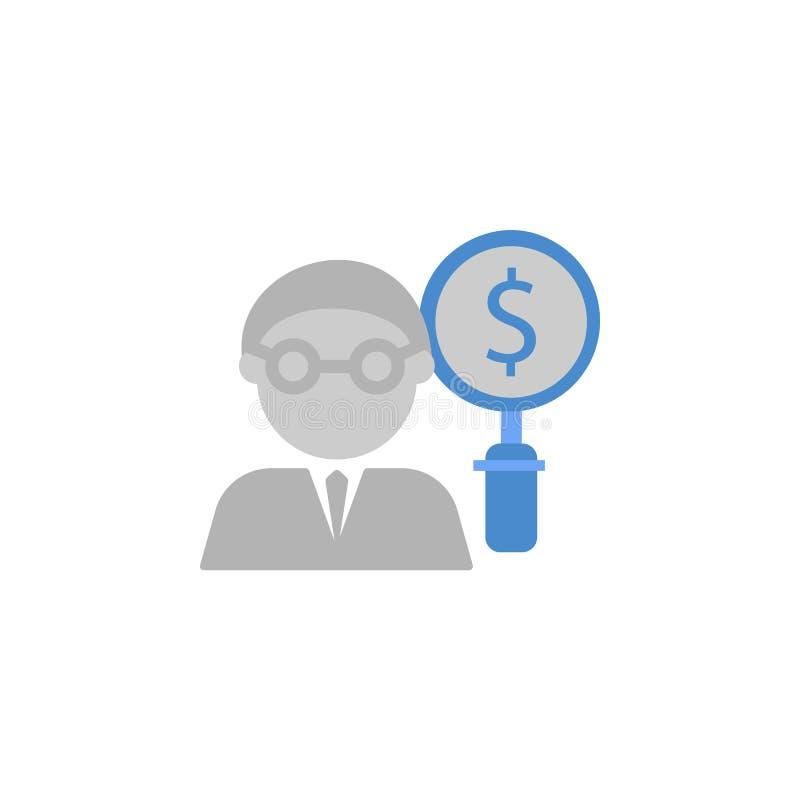 Η λογιστική, τραπεζικές εργασίες, επιχειρηματίας, νόμισμα, χρηματοδότηση, δολάριο, έρευνα δύο χρωματίζει το μπλε και γκρίζο εικον ελεύθερη απεικόνιση δικαιώματος