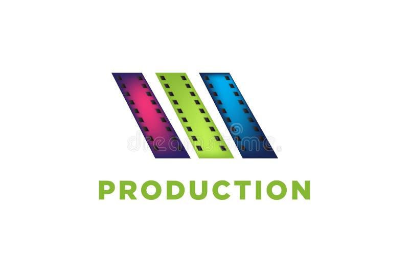η λουρίδα ταινιών, ρόλος ταινιών, λογότυπο παραγωγής κινηματογράφων σχεδιάζει την έμπνευση που απομονώνεται στο άσπρο υπόβαθρο ελεύθερη απεικόνιση δικαιώματος