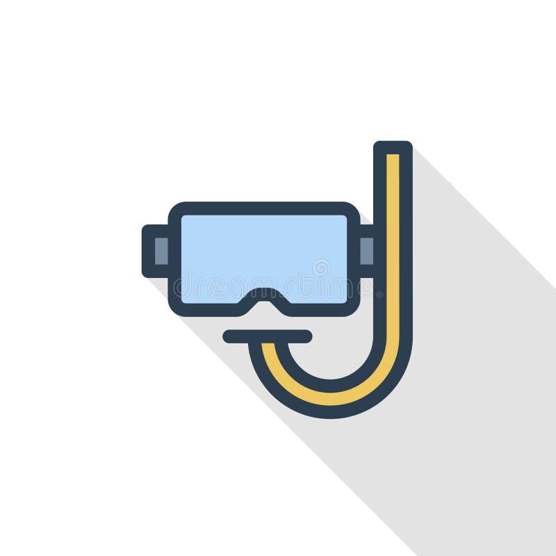 Η μάσκα κατάδυσης και κολυμπά με αναπνευτήρα λεπτό εικονίδιο χρώματος γραμμών επίπεδο Γραμμικό διανυσματικό σύμβολο Ζωηρόχρωμο μα διανυσματική απεικόνιση