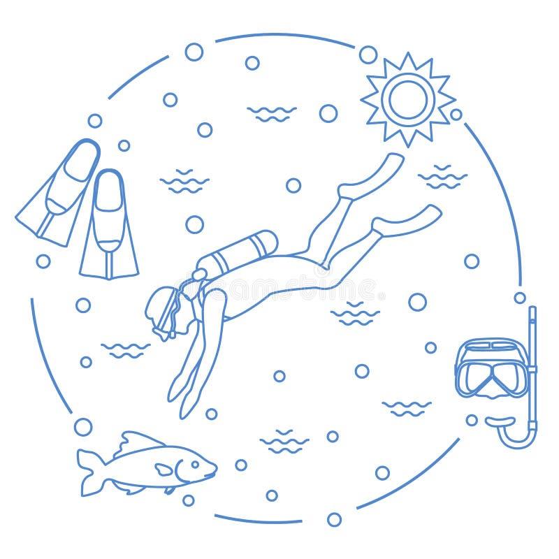 Η μάσκα, κολυμπά με αναπνευτήρα, βατραχοπέδιλα, ήλιος, ψάρια, δύτης σκαφάνδρων ελεύθερη απεικόνιση δικαιώματος