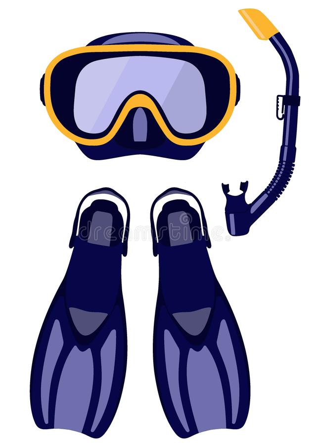 Η μάσκα σκαφάνδρων και κολυμπά με αναπνευτήρα, βατραχοπέδιλα κατάδυσης που απομονώνονται στο άσπρο υπόβαθρο, απεικόνιση ελεύθερη απεικόνιση δικαιώματος