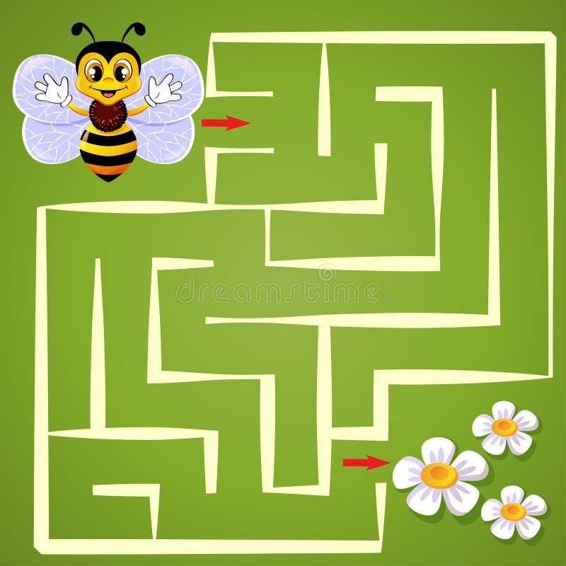 Η μέλισσα βοήθειας βρίσκει την πορεία για να ανθίσει λαβύρινθος Παιχνίδι λαβυρίνθου για τα κατσίκια διανυσματική απεικόνιση