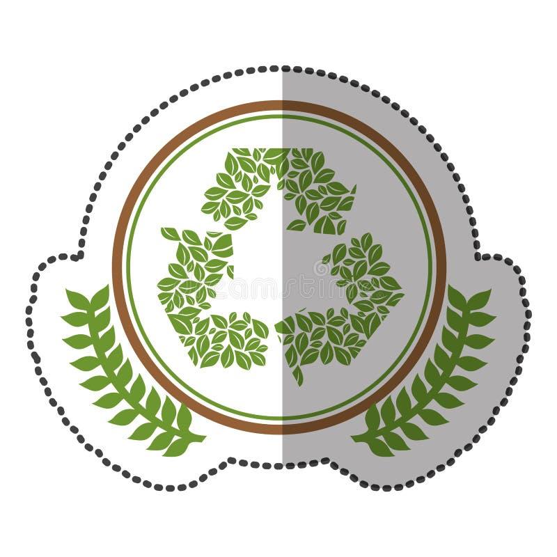 η μέση αυτοκόλλητη ετικέττα σκιών ζωηρόχρωμη με την κορώνα ελιών με τη διακόσμηση αφήνει το σύμβολο ανακύκλωσης στον κύκλο διανυσματική απεικόνιση