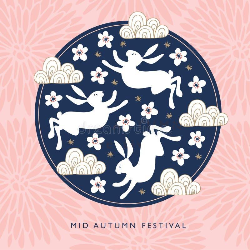 Η μέση ευχετήρια κάρτα φεστιβάλ φθινοπώρου, πρόσκληση με τα κουνέλια νεφριτών, σκιαγραφία φεγγαριών, ρόδινο χρυσάνθεμο ανθίζει, κ ελεύθερη απεικόνιση δικαιώματος
