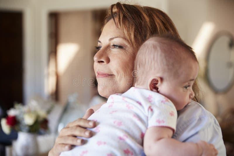 Η μέση ηλικίας ισπανική γιαγιά που κρατά το νεογέννητους εγγονό, το κεφάλι και τους ώμους της, κλείνει επάνω στοκ εικόνες