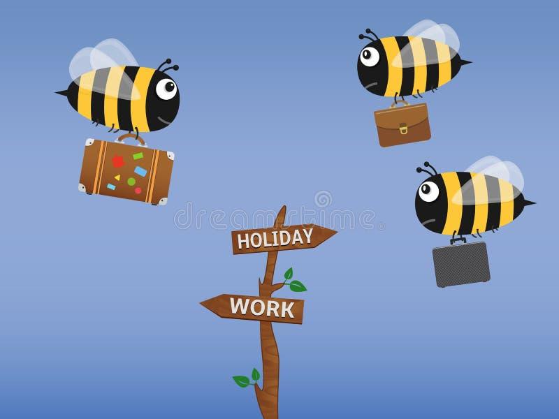 Η μέλισσα με την τσάντα ταξιδιού που πηγαίνει στις διακοπές και οι μέλισσες με τους χαρτοφύλακες πετούν στην εργασία ελεύθερη απεικόνιση δικαιώματος
