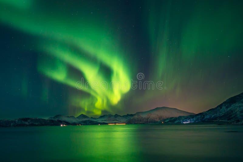 Η μαγική βόρεια αυγή φωτίζει τον ουρανό στοκ εικόνα