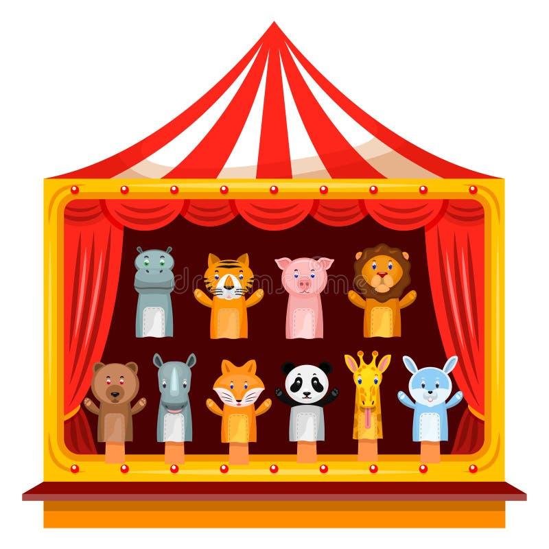 Η μαριονέτα παρουσιάζει θέατρο διανυσματική απεικόνιση