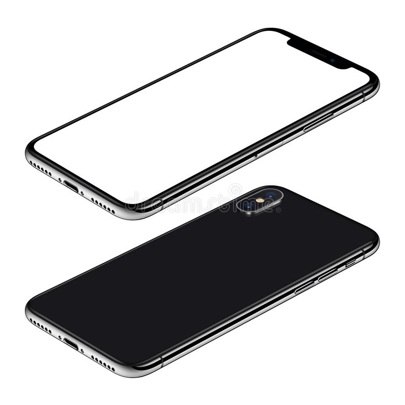 Η μαύρη άποψη CW μπροστινών και πίσω πλευρών προτύπων smartphone isometric που περιστρέφεται βρίσκεται στην επιφάνεια απεικόνιση αποθεμάτων