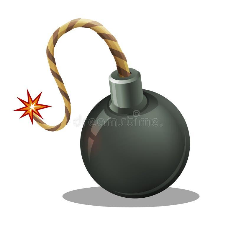 Η μαύρη βόμβα κινούμενων σχεδίων εκρήγνυται με το κάψιμο του φυτιλιού διανυσματική απεικόνιση