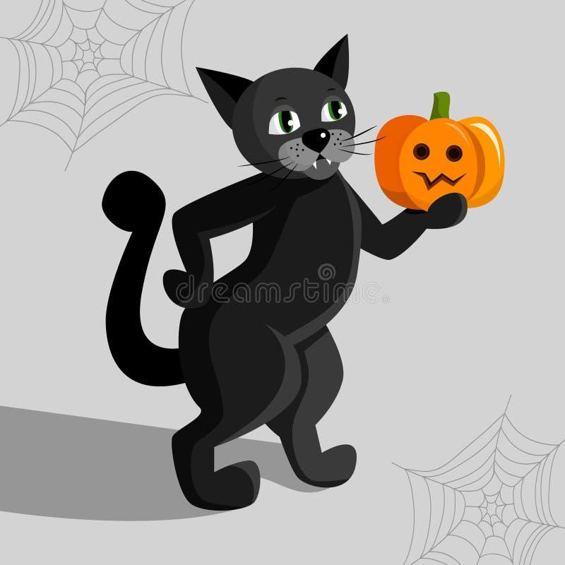 Η μαύρη γάτα αποκριών στα οπίσθια πόδια κρατά την κολοκύθα διανυσματική απεικόνιση